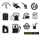 Ikony stacji benzynowej — Wektor stockowy