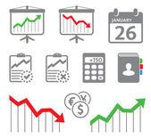 Economic icons, graphs — Stock Vector