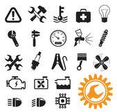 Iconos de mecánico de coches — Vector de stock