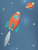 Cartoon space rocket — Stock Vector