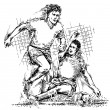 Drawing of soccer players — Image vectorielle
