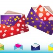 Funny envelopes with cards — Vettoriali Stock