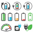 Stock Vector: Colorful battery icons , recycling concept