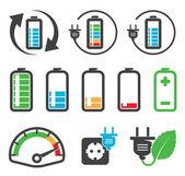 Icone colorate batteria, concetto di riciclaggio — Vettoriale Stock