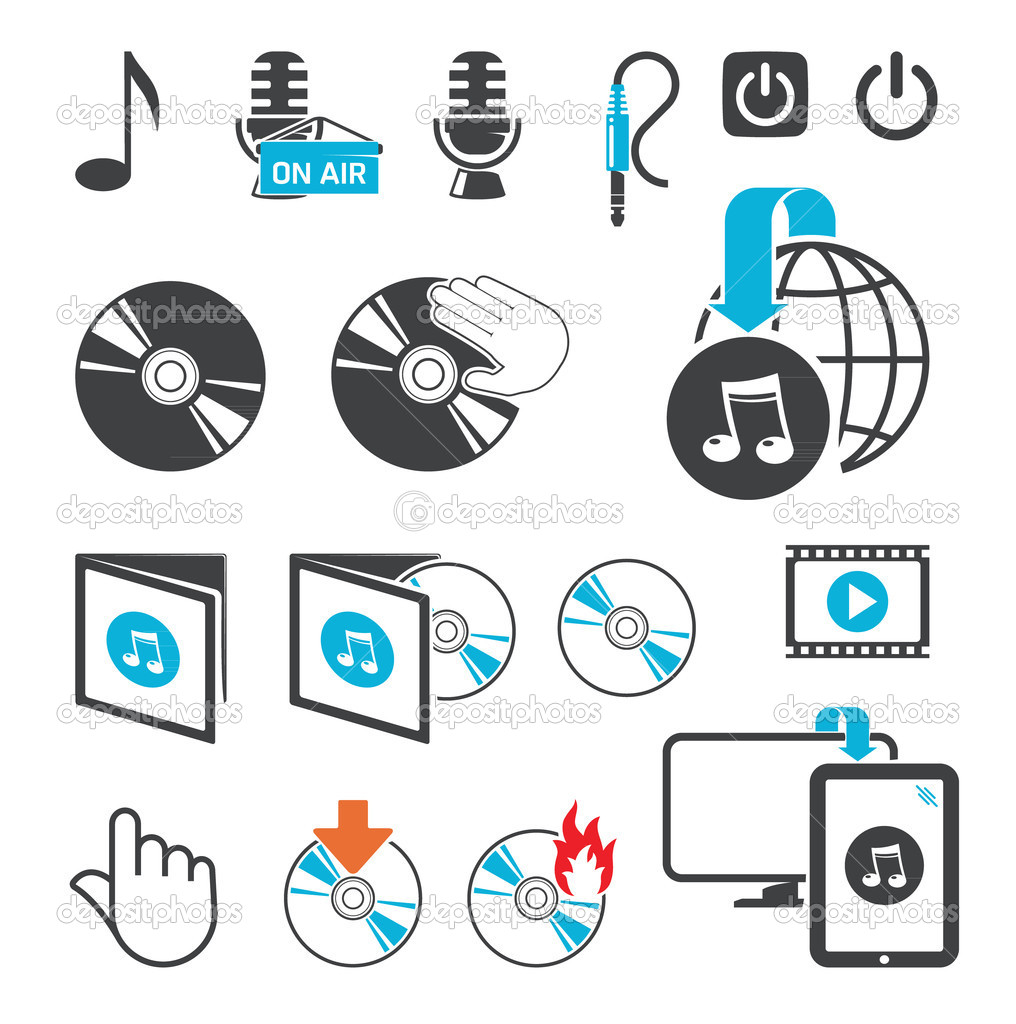 Icons for audio-video files — Stock Vector #9401729