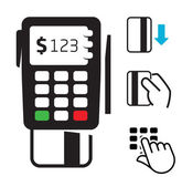 POS-terminal and credit card icons — Stock Vector