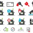 Estate insurance icons - Stok Vektör