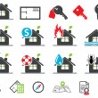 Estate insurance icons — Vettoriale Stock #9632346