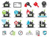Icônes d'assurance immobilier — Vecteur