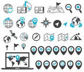 Locatie en bestemming pictogrammen — Stockvector