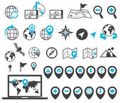 Location and destination icons — Vector de stock