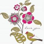 kwiatowy rocznicę lub Walentynki karty — Wektor stockowy