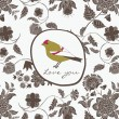 DecorativeVintage Valentines Bird — Vector de stock