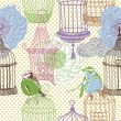 Birds and cages. pattern design — Stock Photo
