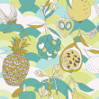 Tropic fruits and bird seamless pattern — Stock Photo
