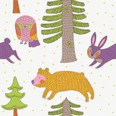 Winter christmas forest met dieren — Stockfoto