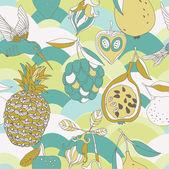 Tropic fruits and bird seamless pattern — Stock Photo