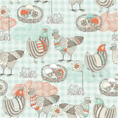 Easter seamless pattern with hen and nest — Stock Photo