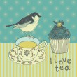 Love tea background with cupcake and bird — Stock Vector