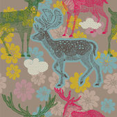 Floral seamless pattern with deers — Stock Vector