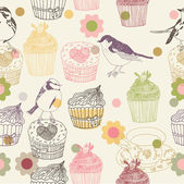 Cupcake and birds. seamless pattern design — Stock Vector