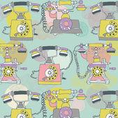 Retro phone. seamless pattern — Stock Vector