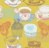 Cupcake and birds. seamless pattern design — Stock Vector