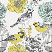 鸟类和鲜花。无缝模式 — 图库矢量图片