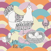 Easter background with hen — Stock Vector