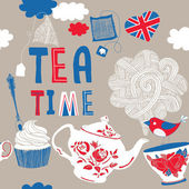 Tea Time — Stock Vector