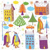 Cidade de inverno dos desenhos animados com pinguins — Vetorial Stock