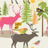 Woodland deer and birds in a forest — Stock Vector