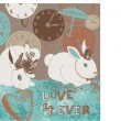 Illustration of bunnies, clocks, hearts, umbrella — Stock Photo