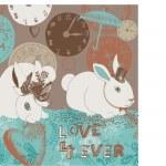 Illustration of bunnies, clocks, hearts, umbrella — Stock Photo