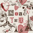 Assorted illustration of valentine symbols — Image vectorielle