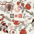 Fondo de amor con pájaro en jardín de frutas — Vector de stock