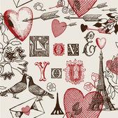 Illustration assortie des symboles de la saint-valentin — Vecteur