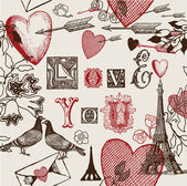 Sevgililer simgeler çeşitli çizimi — Stok Vektör