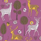 Illustration of deer with antler, trees, flowers — Stockvector