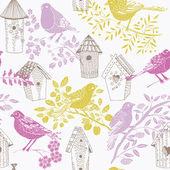 Birds and birdhouses — Stock Vector