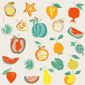Illustration of assorted fruits — Stock Vector