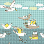 Illustration of flying birds and boats — Stock Vector
