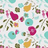 リンゴ、梨、花、葉のイラスト — ストックベクタ