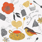 Illustration of teacups, birds, tea bags — Stock Photo