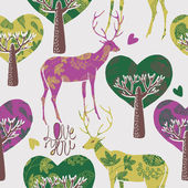 Illustration of deer, heart shaped trees — Stok Vektör
