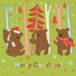 Three brown bears, trees and snowflakes - Imagen vectorial