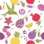 Hummingbird and various fruits pattern — Stock Vector #9655032