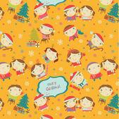 幸せな小さな男の子と女の子のパターン — ストックベクタ
