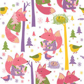 Colorful foxes, birds and trees pattern — Stock Vector