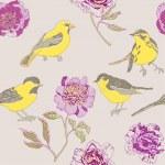 Peony garden with cute birds — Stock Vector